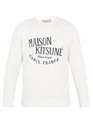 Maison Kitsune Palais Royal Print Cotton Sweatshirt Cream