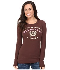 Cinch Long Sleeve Soft Thermal Brown Women's Clothing
