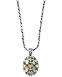 Effy Two Tone Geometric Oval Pendant Necklace In Sterling Silver And 18K Gold