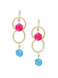 Alanna Bess Linked Ring Drop Earrings Gold Pink