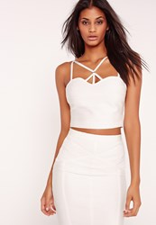 Missguided Premium Bandage Harness Bralet White White