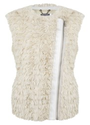 Mint Velvet Neutral Collarless Faux Fur Gilet