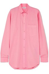 Balenciaga Oversized Printed Cotton Shirt Pink