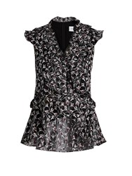 Erdem Regina Embroidered Silk Organza Ruffle Top Black Multi