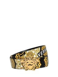 Versace Logo Baroque Print Leather Belt Black Gold