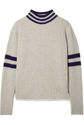 The Elder Statesman Odyssey Striped Ribbed Cashmere Turtleneck Sweater Beige