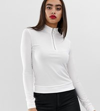 Boohoo Ribbed Top With Half Zip In White White