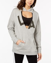 Material Girl Active Juniors' Cutout Graphic Hoodie Created For Macy's Heather Platinum