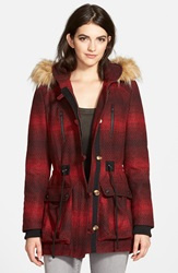 Steve Madden 'Red Stripe' Hooded Duffle Coat With Faux Fur Trim Online Only