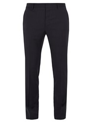 Valentino Striped Wool Slim Leg Trousers Navy Multi