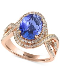 Effy Final Call Tanzanite 2 5 8 Ct. T.W. And Diamond 1 2 Ct. T.W. Ring In 14K Rose Gold Blue