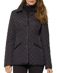 Lauren Ralph Lauren Quilted Faux Leather Trim Blazer Black