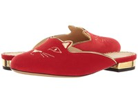 Charlotte Olympia Kitty Slipper Red Velvet Metallic Calfskin Women's Slippers