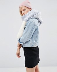 Asos Chunky Knit Scarf With Block End In Pastel Purple