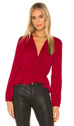Bcbgeneration Twist Front Blouse In Red. Ruby Red
