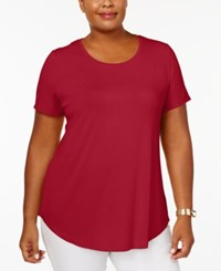 Jm Collection Plus Size Short Sleeve Top Created For Macy's New Red Amore