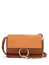 Chloe Faye Small Suede And Leather Cross Body Bag Tan