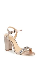 Jewel Badgley Mischka Women's Hendricks Embellished Block Heel Sandal Champagne Satin