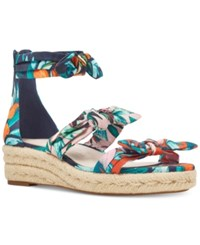 Nine West Allegro Wedge Sandals Women's Shoes Navy Multi