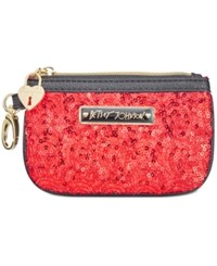 Betsey Johnson Sequin Zip Coin Purse Red