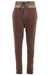 Ann Demeulemeester Woman Satin Paneled French Cotton Terry Track Pants Brown