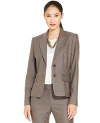 Anne Klein Two Button Herringbone Jacket Havana Brown