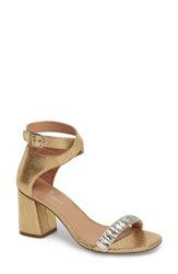 Linea Paolo Harlow Ankle Strap Sandal Gold Crackled Leather