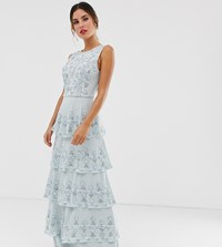 Maya All Over Embellished Tiered Maxi Dress In Ice Blue