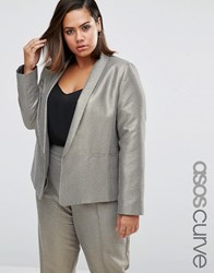 Asos Curve Slim Blazer In Metallic Jacquard Gold