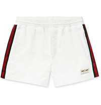 Gucci Mid Length Webbing Trimmed Swim Shorts White