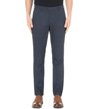 Ted Baker Lommy Tapered Brushed Cotton Trousers Blue