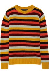 The Elder Statesman Picras Striped Cashmere Sweater Mustard