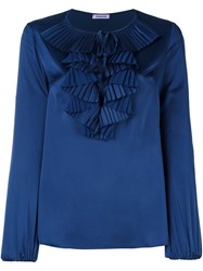 P.A.R.O.S.H. Ruffle Neck Blouse Blue