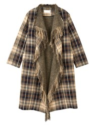 Chloe Fringed Wool And Cotton Blend Coat Brown