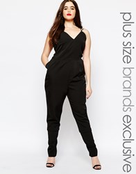 Truly You Strappy Plunge Front Jumpsuit Black