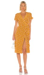 Privacy Please Rosalie Midi Dress In Mustard. Gold Rebecca Floral