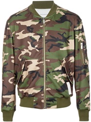 Phenomenon Camouflage Print Bomber Jacket Green