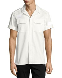 Neil Barrett Short Sleeve Cotton Military Shirt Off White