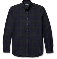Gitman Brothers Vintage Button Down Collar Checked Cotton Oxford Shirt Dark Green
