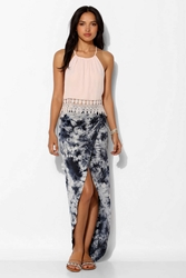 Staring At Stars Ruched Side Tulip Maxi Skirt Blue