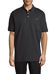 Ralph Lauren Purple Label Solid Cotton Polo Shirt Dark Charcoal Heather