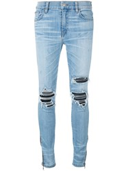 Amiri Distressed Patch Skinny Jeans Women Cotton Leather Spandex Elastane 26 Blue