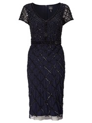 Adrianna Papell Short Sleeve Beaded Cocktail Dress Blue