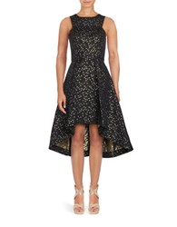 Shoshanna Sleeveless Star Print Hi Lo Dress Black Gold
