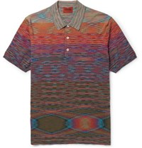Missoni Slim Fit Space Dyed Knitted Cotton Polo Shirt Orange