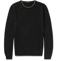 Christopher Kane Slim Fit Neon Tipped Knitted Sweater Black