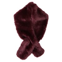 Jigsaw Faux Fur Scarf Cranberry