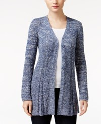 Styleandco. Style Co. Petite Pointelle Flare Hem Cardigan Only At Macy's Uniform Blue Combo