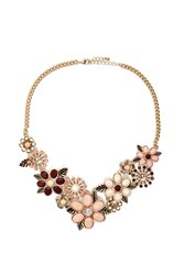 Forever 21 Floral Statement Necklace Gold Peach
