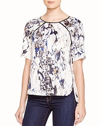 Cooper And Ella Lucy Faux Leather Trimmed Marble Print Tee